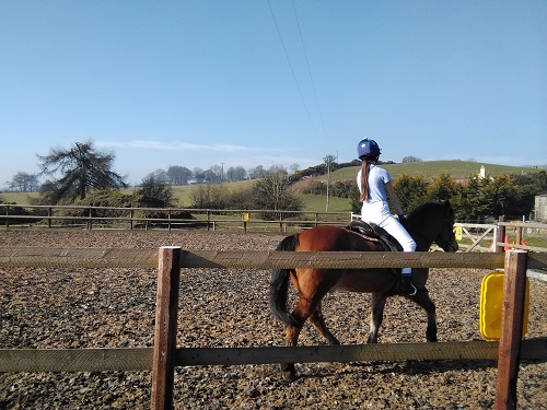 Tune and meg having a riding lesson
